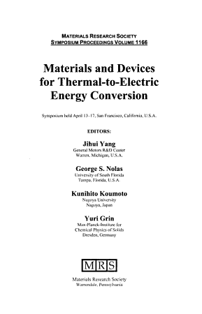 Materials and Devices for Thermal to Electric Energy Conversion  Volume 1166 PDF
