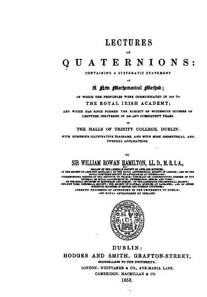 Download Lectures on Quaternions Book