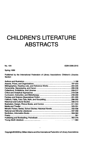 Childrens Literature Abstracts