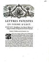 Lettres patentes en forme d'Edit, portant etablissement d'un Hôpital Militaire à l'usage des soldats du régiment des Gardes Françoises: données à Versailles au mois de Septembre 1759