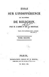 Essai sur l'indifférence en matière de religion ...