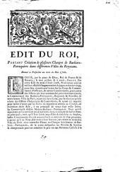 Edit du Roi, portant création de plusieurs charges de barbiers-perruquiers dans différentes villes du royaume: donnée à Versailles au mois de Mai 1760