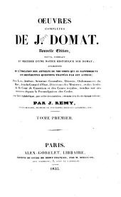 Oeuvres complètes de J. Domat: Volumes1à2
