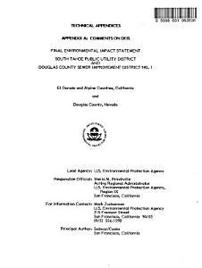 Wastewater Treatment Facilities for South Shore Lake Tahoe Basin  CA NV  PDF