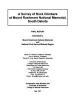 A Survey of Rock Climbers at Mount Rushmore National Memorial  South Dakota PDF