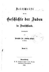 Zeitschrift für die Geschichte der Juden in Deutschland: Band 5