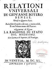 Relationi universale...: Augm. de... la Ragione di stato del medesimo...