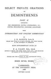 Select Private Orations of Demosthenes: Pro Phormione. Contra Stephanum I, II. Contra Nicostratum. Cononem. Calliclem