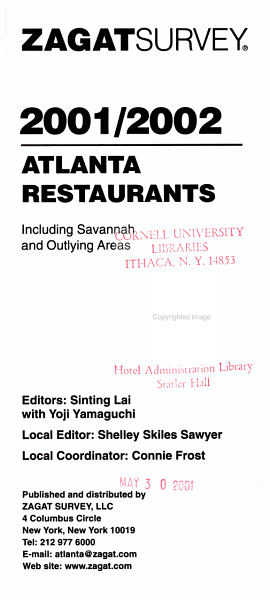 Atlanta Restaurant Survey, 2001-2002