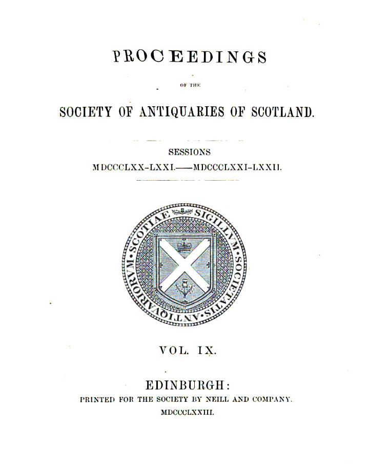 Proceedings of the Society of Antiquaries of Scotland