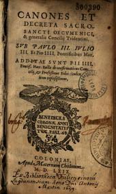 Sacrosancti Concilii Tridentini decreta et canones