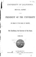 Annual Report of the President of the University on Behalf of the Regents PDF
