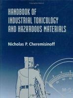 Handbook of Industrial Toxicology and Hazardous Materials PDF