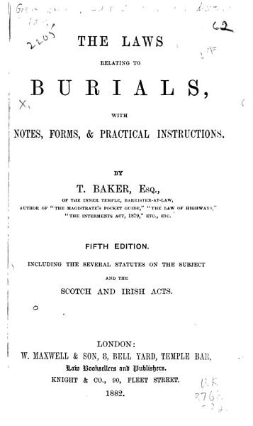 The Laws Relating to Burials PDF