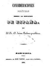 Consideraciones políticas sobre la situación de España
