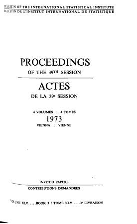 Bulletin de L Institut International de Statistique PDF