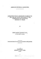 Contributions Toward a Bibliography of American History  1888 1892 PDF