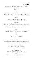 Laws and General Ordinances of the City of Cincinnati PDF