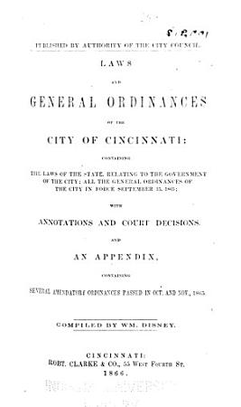 Laws and General Ordinances of the City of Cincinnati PDF