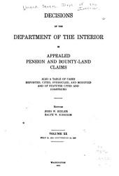Decisions of the Department of the Interior in Appealed Pension and Bounty-land Claims: Volume 20