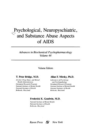 Psychological, Neuropsychiatric, and Substance Abuse Aspects of AIDS