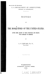 Notes on the mosquitoes of the United States
