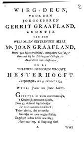 Wieg-deun, voor den jonggeboren Gerrit Graafland ...: toegezongen, den 9. october 1773, Volume 1