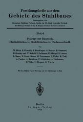 Beiträge zur Baustatik, Elastizitätstheorie, Stabilitätstheorie, Bodenmechanik