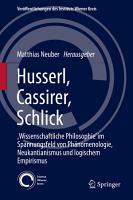 Husserl  Cassirer  Schlick PDF