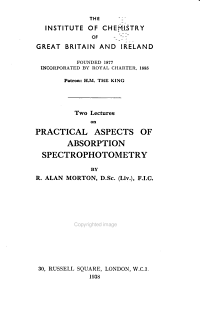 Two Lectures on Practical Aspects of Absorption Spectrophotometry