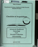 Checklist of Publications of the State of Arizona PDF