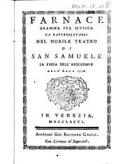 Farnace. Dramma per musica da rappresentarsi nel nobile teatro di San Samuele la fiera dell'Ascensione dell'anno 1776