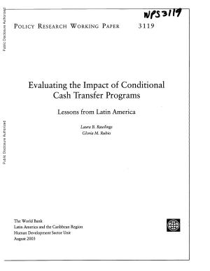Evaluating the Impact of Conditional Cash Transfer Programs