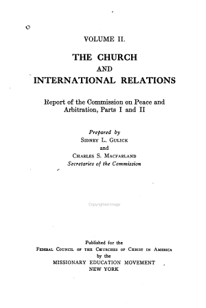 The Church and International Relations