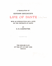 A Translation of Giovanni Boccaccio's Life of Dante
