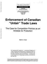 Enforcement Of Canadian Unfair Trade Laws Book PDF