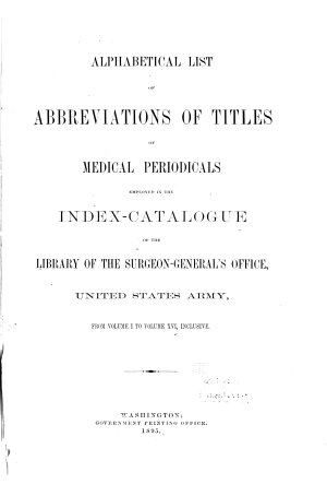 Index Catalogue of the Library of the Surgeon general s Office  United States Army   United States Army  Army Medical Library   National Library of Medicine   PDF