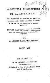 Principios filosoficos de la literatura: Volumen 7