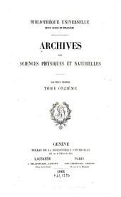 Archives des sciences physiques et naturelles: Volume11