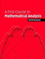 A First Course in Mathematical Analysis PDF