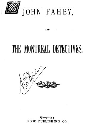 John Fahey  and the Montreal Detectives