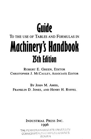 Machinery s Handbook Guide PDF