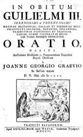 In obitum Guilielmi III. ... Oratio