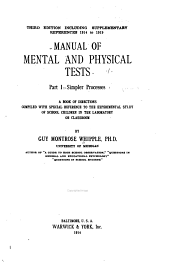 Manual of Mental and Physical Tests: Complex processes