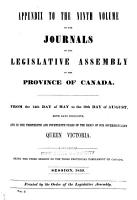 Appendix to     Journals of the Legislative Assembly of the Province of Canada     PDF