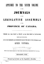 Appendix to ... Journals of the Legislative Assembly of the Province of Canada: Volume 9, Issue 1