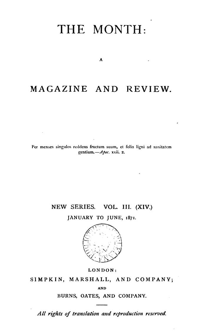 The Month: A Magazine and Review Vol. III