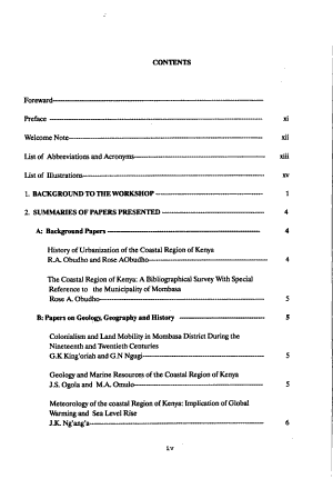 Urban and Regional Planning of Mombasa and the Coastal Region  Kenya PDF
