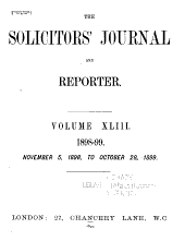 Solicitors' Journal and Reporter: Volume 43
