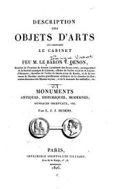 Description des objects d'arts qui composent le cabinet de le Baron V. Denon
